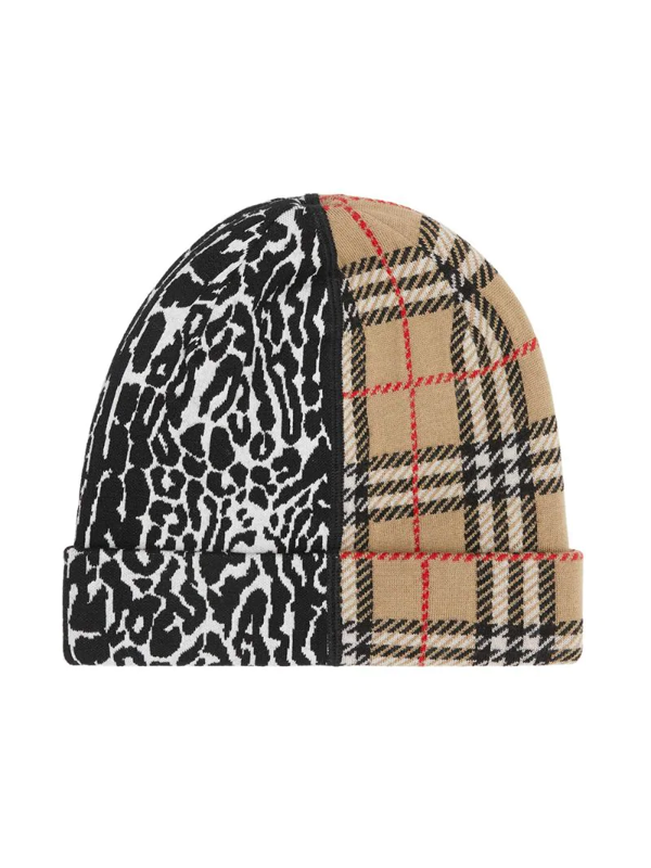 Burberry Kids' Jacquard Tartan With Leopard Print Insert Hat In Neutrals