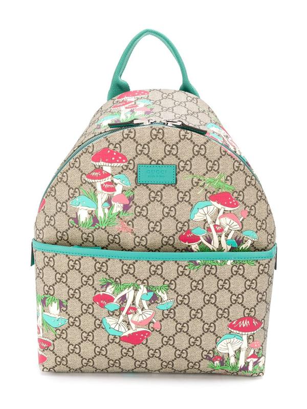 Gucci Kids' Gg Supreme Mushroom Print Backpack In Neutrals