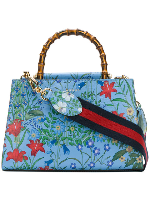 3eee1cd68 Gucci Nymphaea New Flora Leather Mini Bag In Blue | ModeSens