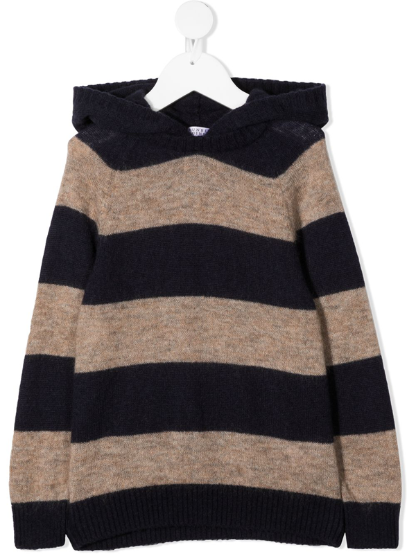 Brunello Cucinelli Kids' Wide Stripes Knitted Jumper In Blue