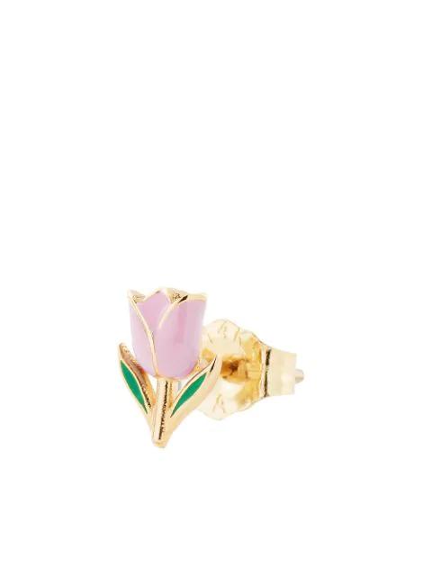 Alison Lou 14kt Yellow Gold Pink Enamel Tulip Stud