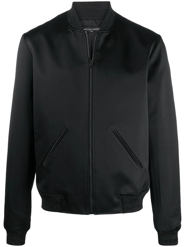 Garcons Infideles Embellished Logo Bomber Jacket In Black