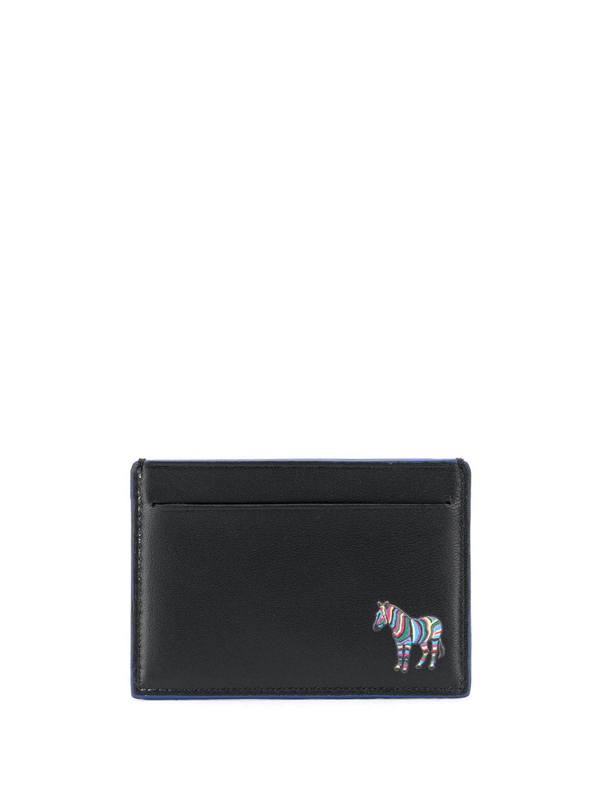 Ps By Paul Smith Zebra Logo Leather Card Holder In Black