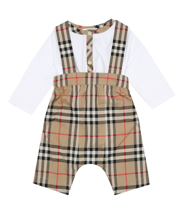Burberry Babies' Bertie Organic Cotton Bodysuit & Check Overalls Set In Beige