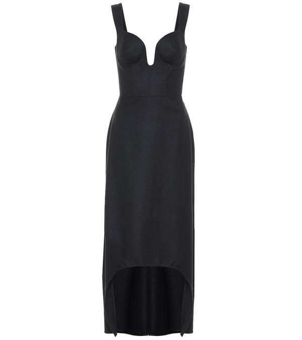 Alexander Mcqueen Sweetheart-neck Wool-flannel Midi Dress In Black