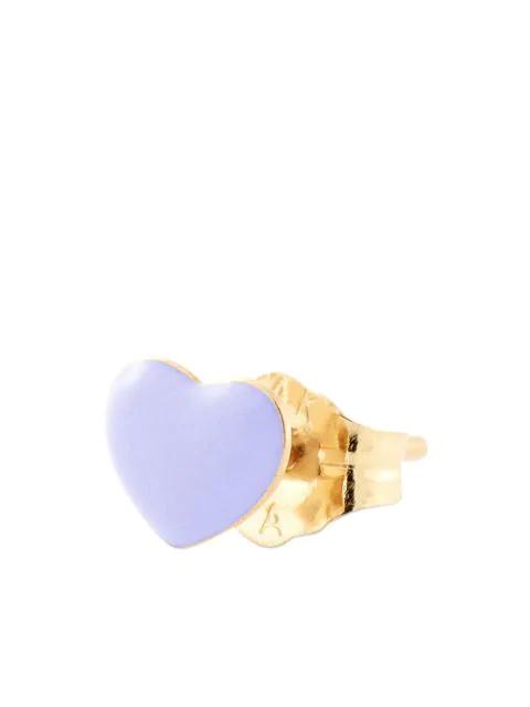 Alison Lou 14kt Yellow Gold Lilac Enamel Heart Stud In Purple