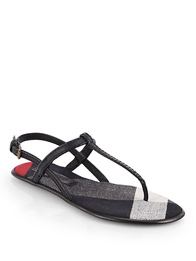 Burberry Navy Leather And Check Canvas 'Ingledew' Thong Sandals