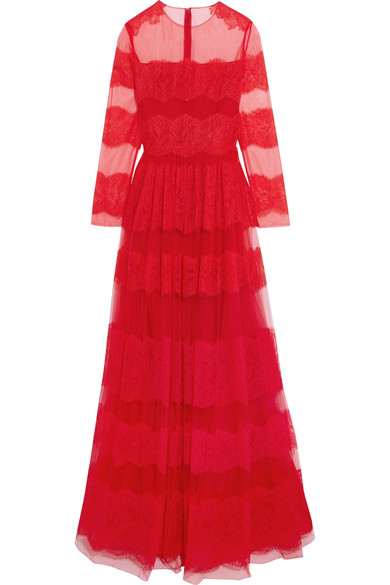Valentino Long-Sleeved Floral-Lace And Tulle Gown In Red