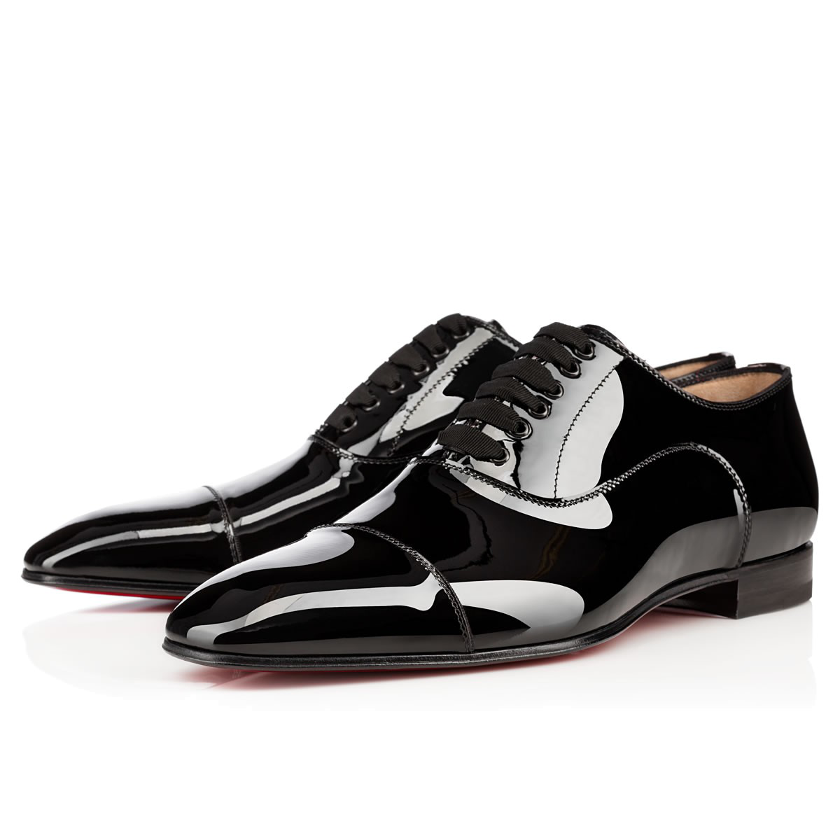 Christian Louboutin Greggo Patent-Leather Derby Shoes In Black