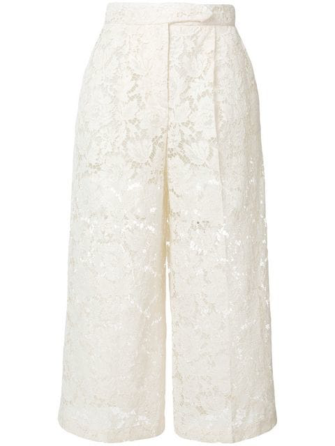 Valentino Cropped Corded Cotton-Blend Guipure Lace Wide-Leg Pants In Ivory