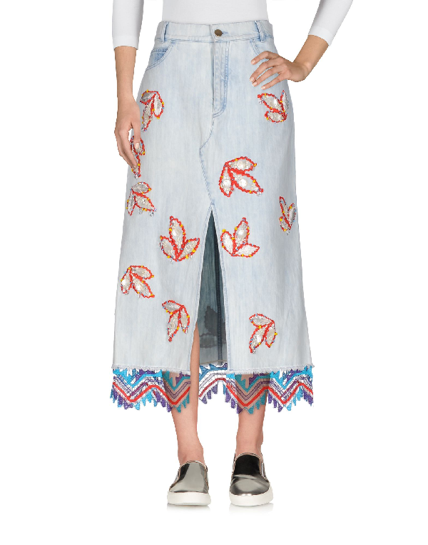 Peter Pilotto Lace-trimmed Embellished Denim Midi Skirt In Light Denim