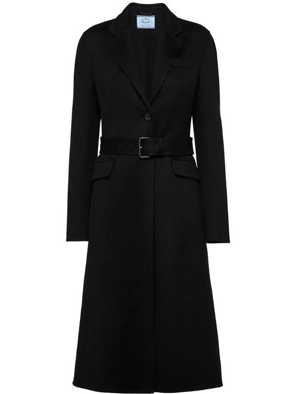 Prada Belted Knee-length Coat In Black