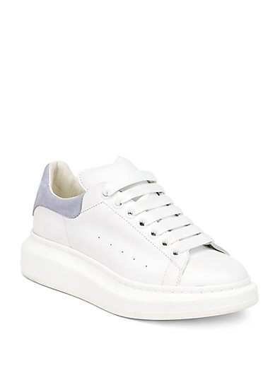 Alexander Mcqueen Lace-up Low-top Wedge Sneakers, White/gray In 9071 White/silver