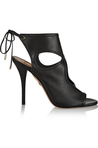 Aquazzura Sexy Thing Cutout Leather Tie-Back Sandals In Black