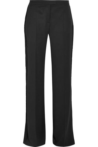 Stella Mccartney Fringed Wool Wide-Leg Pants In Black