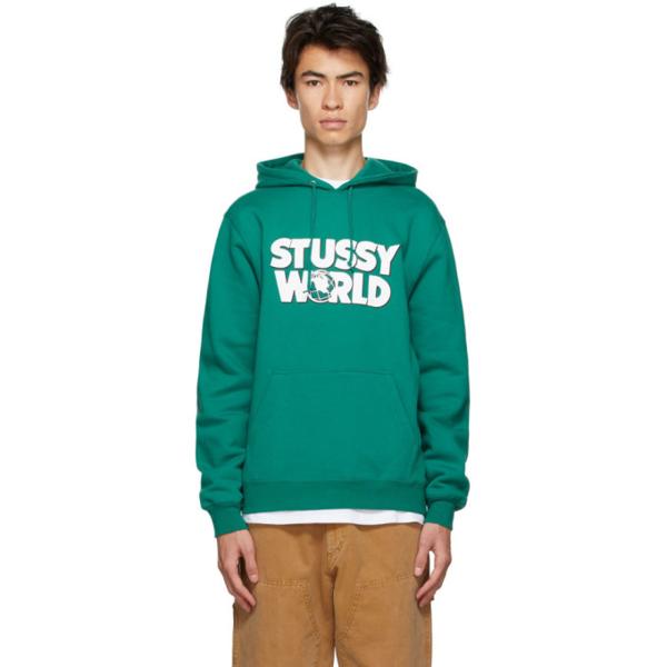 Stussy Printed Fleece-back Cotton-blend Jersey Hoodie In Dark Green
