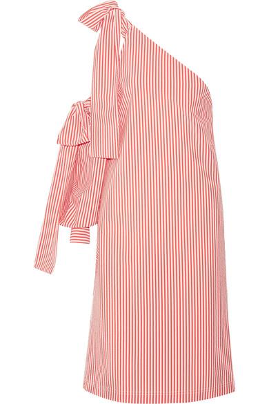 Msgm Women S Seersucker Striped Shoulder Tie Dress In Pink And