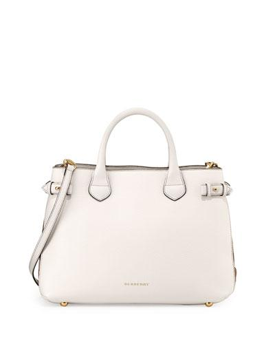Burberry Banner Medium House Check Derby Tote Bag, Limestone In Natural