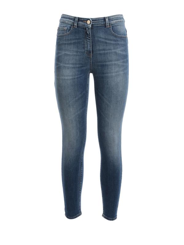Elisabetta Franchi Faded Denim Jeans In Blue