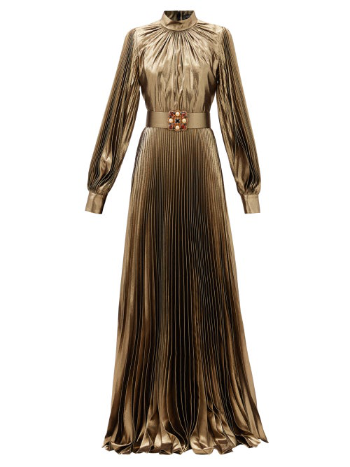 Andrew Gn Crystal-belt Pleated Silk-blend Plissé Gown In Gold