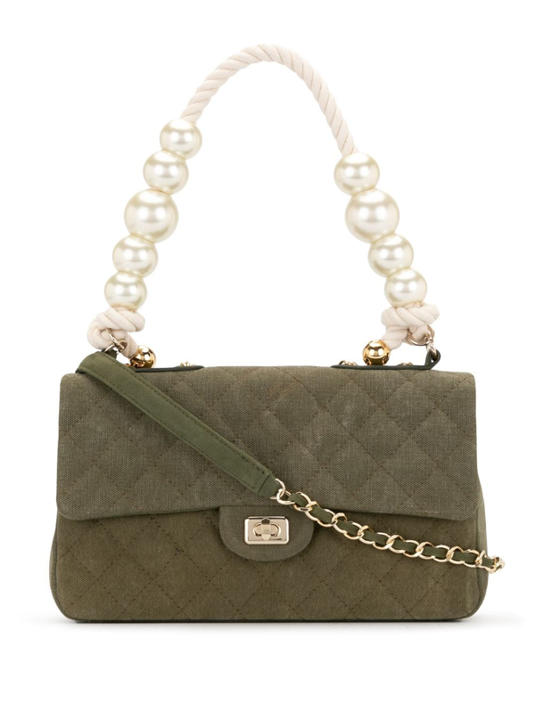 Readymade Pearl-embellished Quilted Shoulder Bag In Green