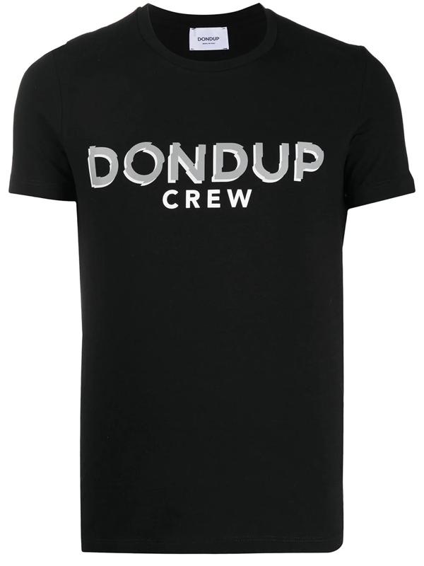 Dondup Contrasting Logo Print T-shirt In Black