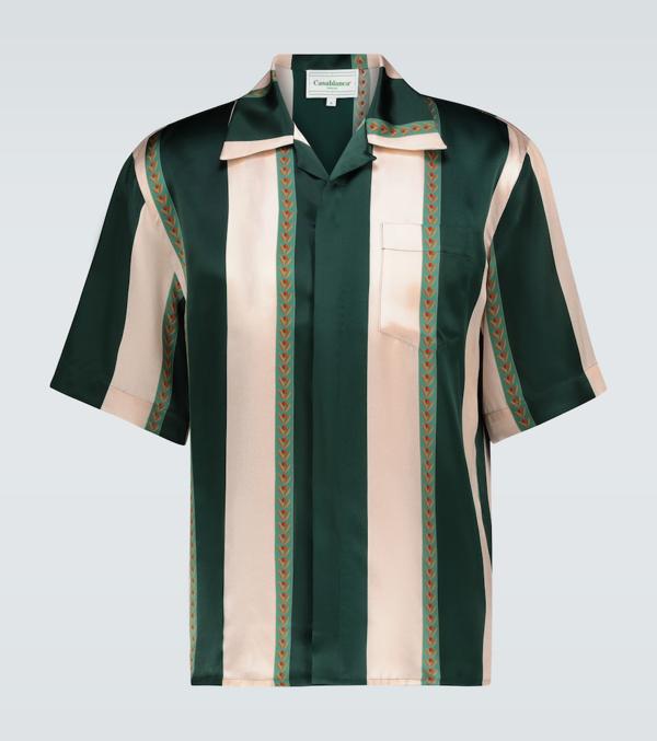 Casablanca Laurel Striped Silk Bowling Shirt In Multicoloured
