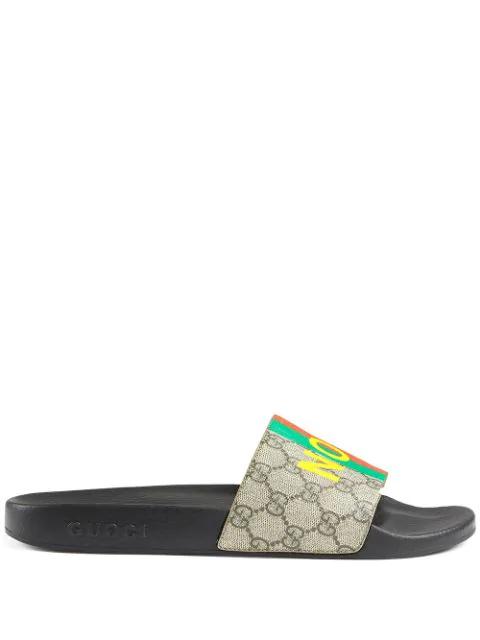 Gucci Men's Men's Fake/not Print Pursuit Gg Supreme Slide Sandals In Neutrals ,black