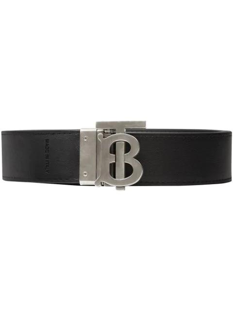 Burberry Reversible Monogram Motif London Check Belt In Black