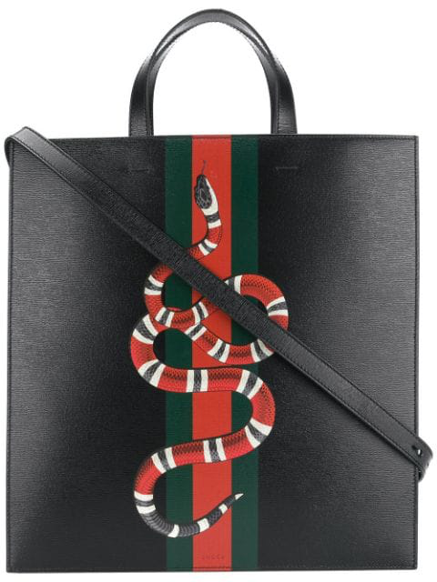 Gucci Web And Kingsnake Leather Tote In Black