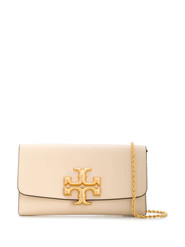 Tory Burch Eleanor Leather Clutch W/ Metal Chain In New Cream