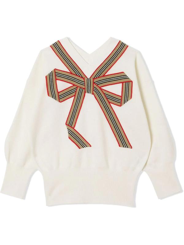 Burberry Kids' Arabelle Icon Stripe Bow Wool & Silk Sweater In Neutrals