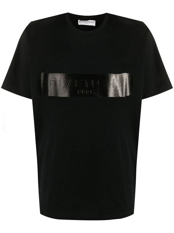 Givenchy Jersey Tee With Latex Covered Logo In Black