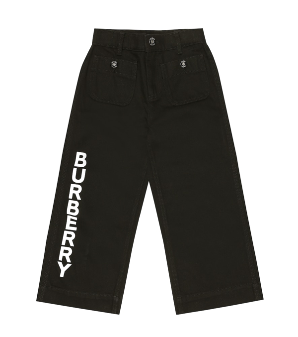 Burberry Kids' Logo-print Trousers In Black