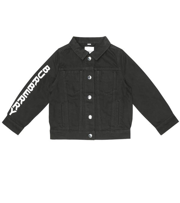 Burberry Kids' Logo Print Cotton Denim Jacket In Black