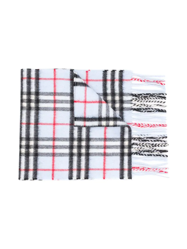 Burberry Kids' Check Cashmere Scarf In Blue