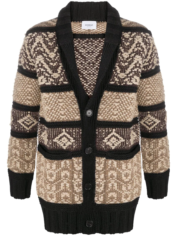 Dondup Over Cardigan In Wool And Silk With Jacquard Pattern In Brown