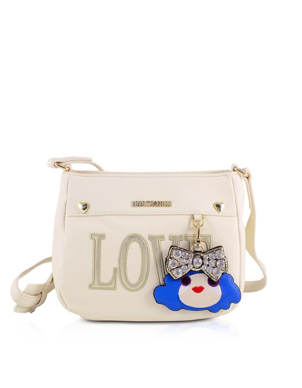 Love Moschino Love White Eco-leather Shoulder Bag In Cream