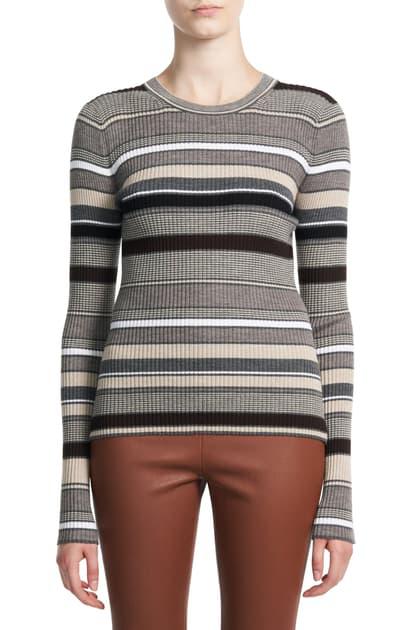 Theory Women's Stripe Wool Sweater In Warm Heather Grey Multi - Zoa