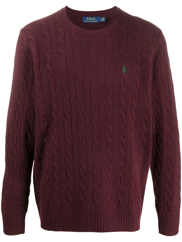 Polo Ralph Lauren Logo-embroidered Cable-knit Wool And Cashmere-blend Jumper In Red