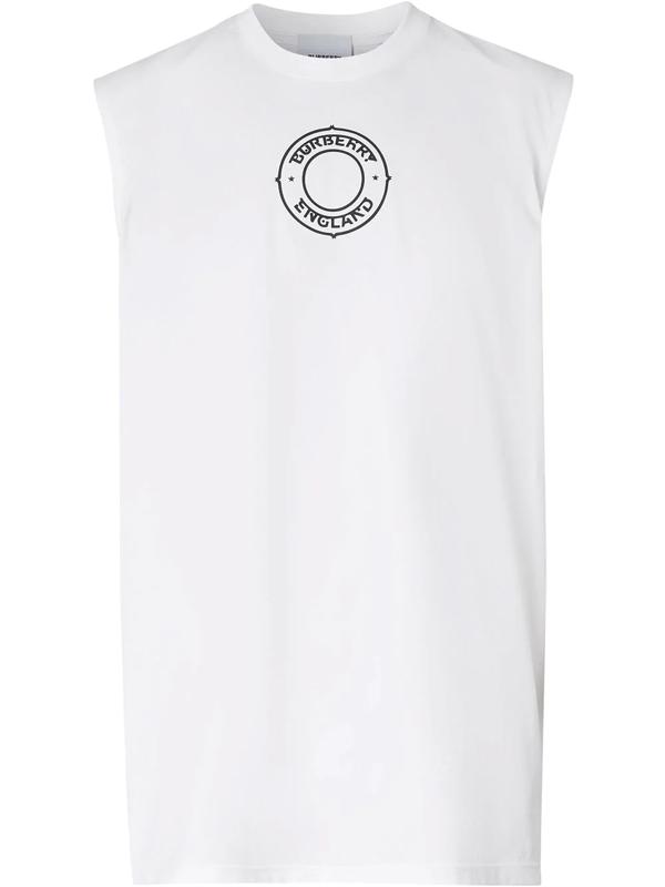 Burberry Logo Graphic Print Vest In White
