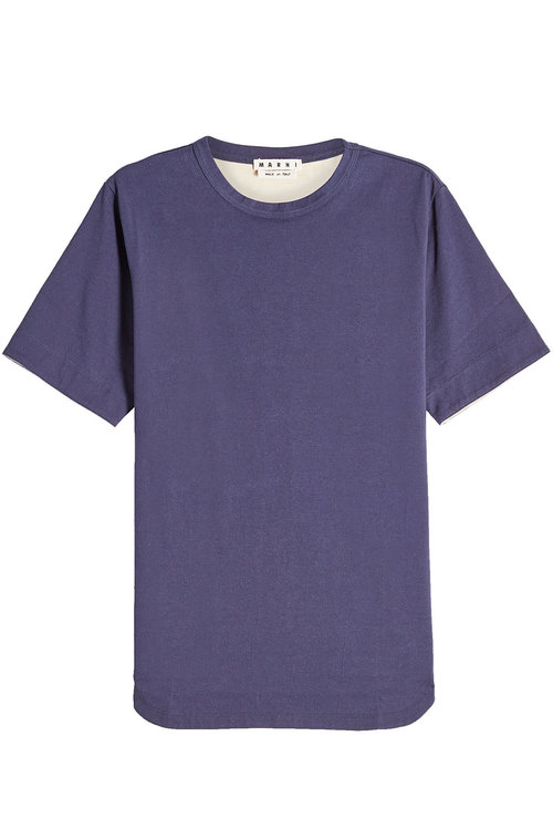 Marni Cotton T-Shirt In Blue