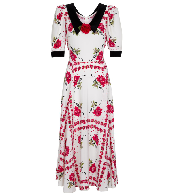 Rodarte Women's Rose-printed Collared Silk Dress In Red