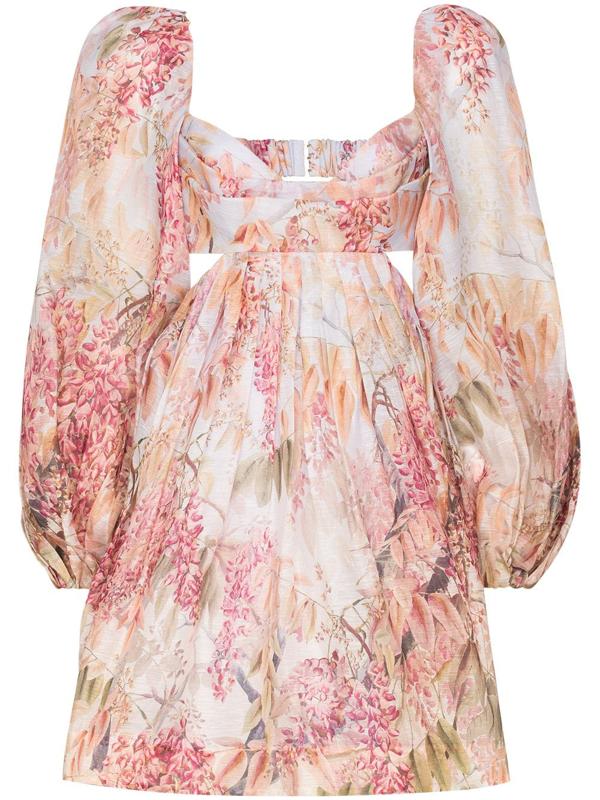 Zimmermann Wild Botanica Open-back Cutout Floral-print Linen And Silk-blend Mini Dress In Pink