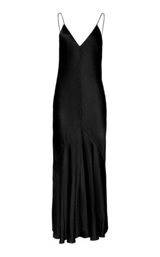 Studio Amelia Liquid Bias-cut Satin Slip Dress In Black