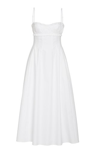 Khaite Felicia Smocked Cotton Dress In White