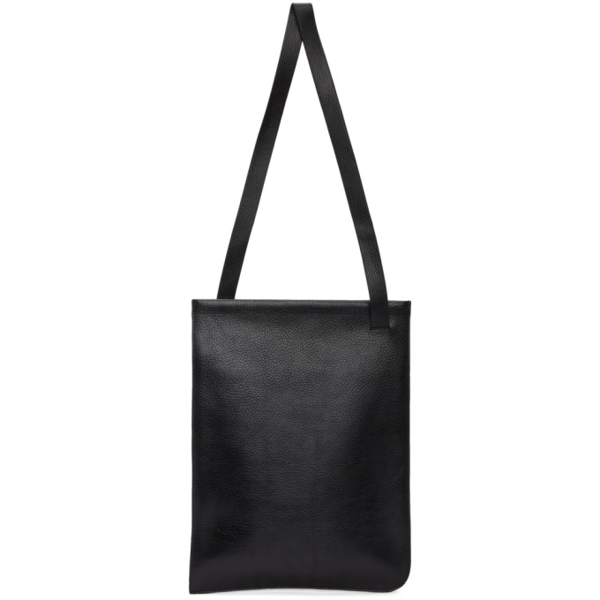 Lemaire Black Leather Tote In 999 Black