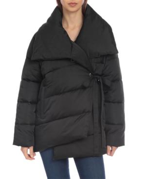 Avec Les Filles Water Resistant Wrap Puffer Coat In Black