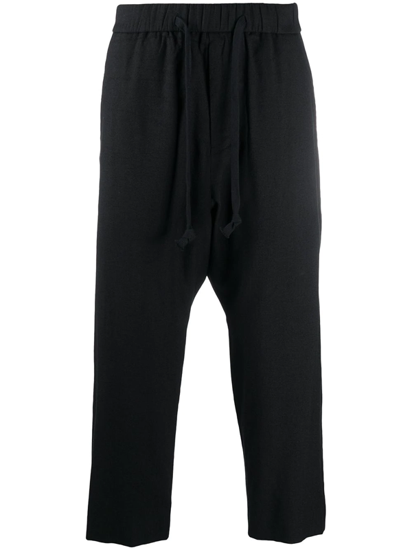 Ziggy Chen Drawstring Cropped Trousers In Black