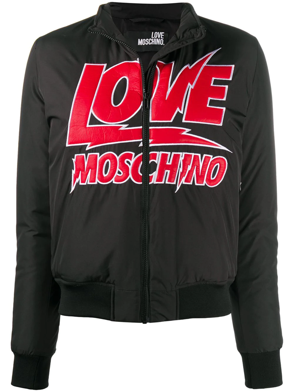 Love Moschino Logo Lettering Puffer Jacket In Black